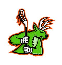 stag deer lacrosse mascot vector image