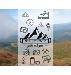 Summer Steep Rock camp badge logo template vector image