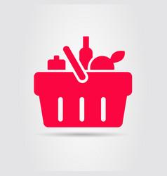 Super market basket food grocery shopping red vector