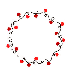 tangled wire round frame with red heart lights vector image
