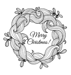 Template greeting card with Christmas wreath vector image
