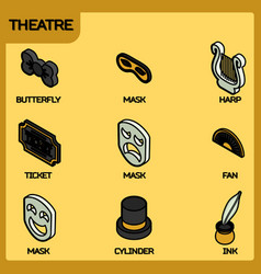 Theatre color outline isometric icons vector