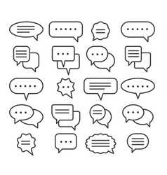 Thin line speech bubble icons vector