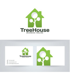 Tree house logo design vector