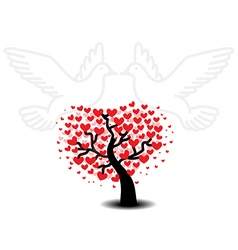 Tree of love with seagulls vector