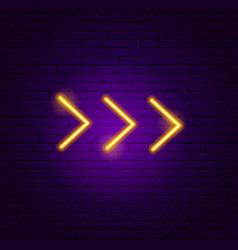 Tripple arrow neon sign vector