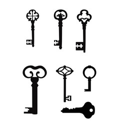 vintage key silhouette set close the door vector image