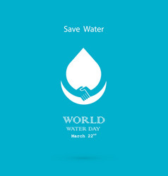 Water drop with handshake icon logo design vector