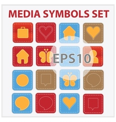 Web and media buttons collection with media vector image