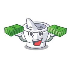 With money mortar mascot cartoon style vector