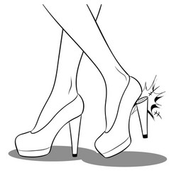 woman broke heel on her red shoes coloring vector image