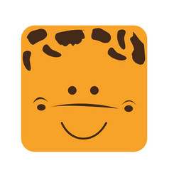 Yellow square giraffe animal face expression vector