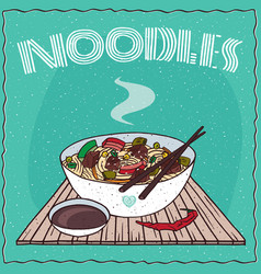 asian noodle soup with vegetables and beef vector image vector image