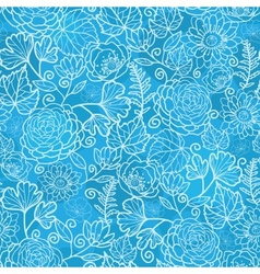 Blue field floral texture seamless pattern vector image