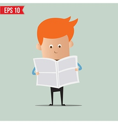 Business man reading newspaper - - EPS10 vector image