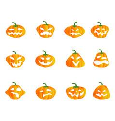color halloween pumpkin icons vector image