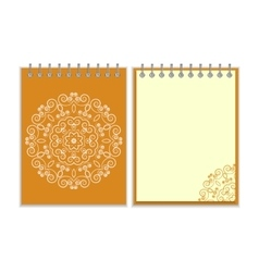 Orange cover notebook with round floral pattern vector image vector image