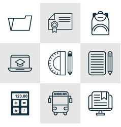 set of 9 education icons includes transport vector image vector image