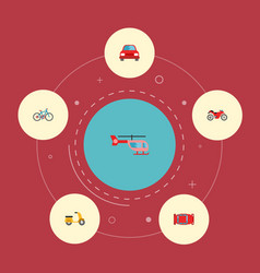 set of vehicle icons flat style symbols with vector image vector image