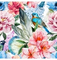 Watercolor flowers pattern vector