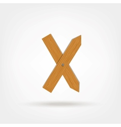 Wooden Boards Letter X vector image