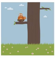 bird in a tree vector image vector image