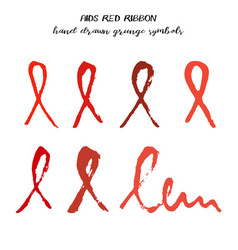set of red aids ribbons from brush strokes vector image