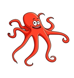 Cute red octopus with curling tentacles vector image vector image