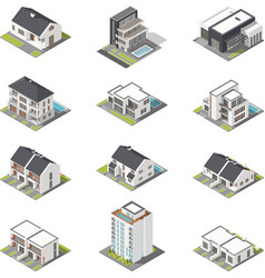 Different houses isometric icon set vector image