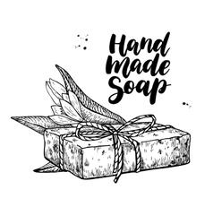 Handmade natural soap hand drawn cosmetic vector image