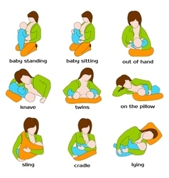 Poses for breastfeeding Woman breastfeeding a vector image