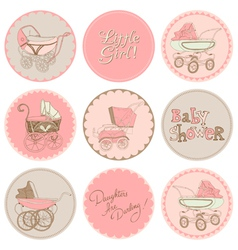 Baby girl shower party set vector