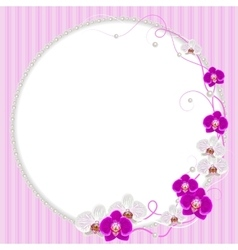 Delicate frame with orchid flowers and pearls vector image