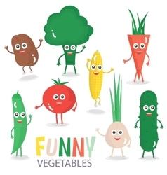Funny cartoon vegetables set vector image vector image