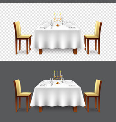 luxury restaurant table for two isolated vector image vector image