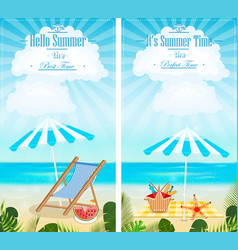 Set of summer vacation vertical banners vector