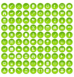 100 binoculars icons set green circle vector