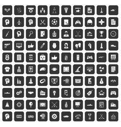 100 strategy icons set black vector