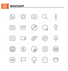 25 whatsapp icon set background vector