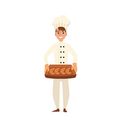 a young caucasian male baker and chef in a white vector image