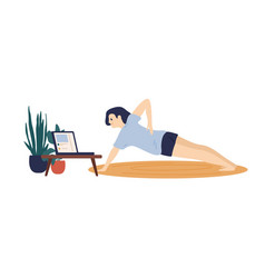Active woman training at home watching tutorial vector