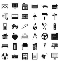 Architecture equipment icons set simple style vector