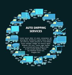 Auto shipping services round concept vector