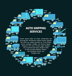 Auto shipping services round concept with vector