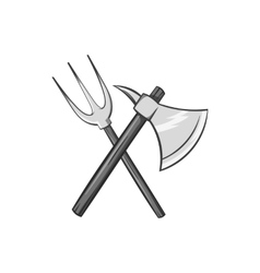 Axe and pitchfork icon black monochrome style vector