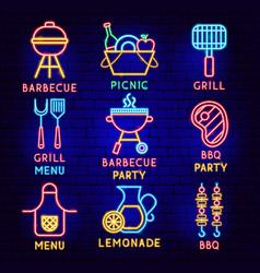 barbecue neon label set vector image