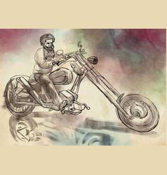 biker an hand drawn freehand vector image