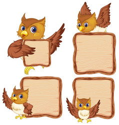 board template with cute owl on white background vector image