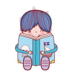 book day cute boy sitting reading book pirates vector image