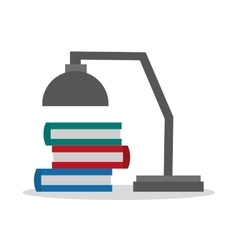 Books and lamp of office and work design vector
